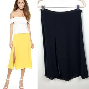 Michelle Mason Silk Midi Skirt Slit Black Revolve